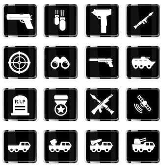 Set di icone vettoriali semplicemente militari