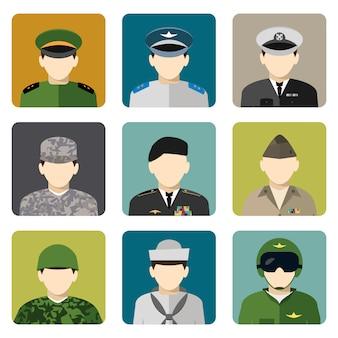 Set di icone di avatar social network militare