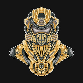 Illustrazione robotica soldato militare mecha Vettore Premium