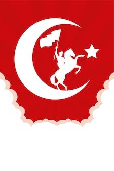 Soldato militare sventolando bandiera in disegno di illustrazione vettoriale di celebrazione di cavallo turchia