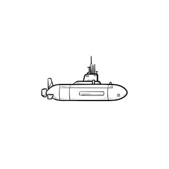Icona di doodle di contorni disegnati a mano sottomarino militare. veicolo della marina, concetto di trasporto subacqueo militare