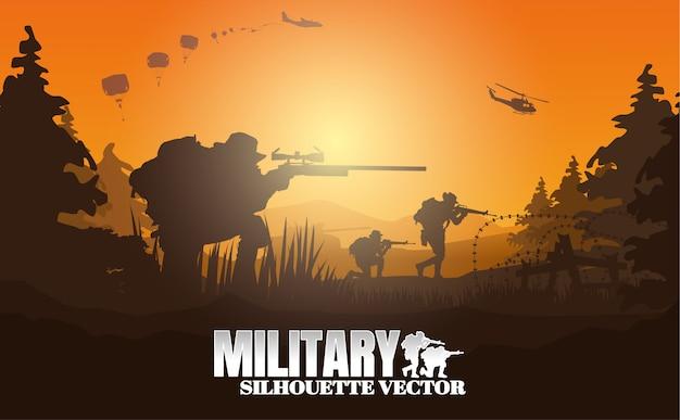 Illustrazione vettoriale militare, sfondo dell'esercito.
