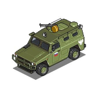 Veicolo militare per l'illustrazione dell'asset di gioco di pixel art di guerra Vettore Premium