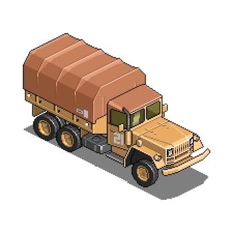 Veicolo militare per l'illustrazione dell'asset di gioco di pixel art di guerra