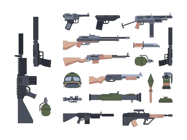 Set di illustrazioni piatte di armi e protezione militari. pack fucili e pistole silenziate. un