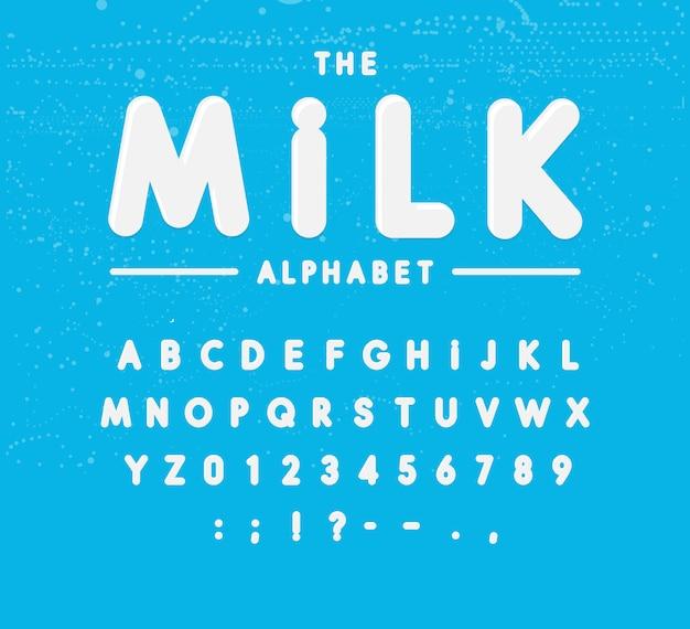 Set di alfabeto del latte