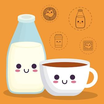 Bottiglia di latte e tazza di caffè con icone relative al cibo della prima colazione