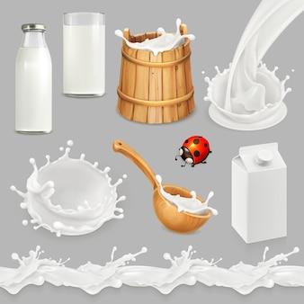 Latte. bottiglia, bicchiere, cucchiaio, secchio. prodotti lattiero-caseari naturali. insieme di vettore 3d