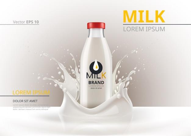 Pacchetto bottiglia di latte imbalsamare vector realistico. sfondo splash liquido