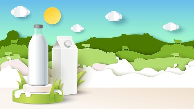 Bottiglia di latte sul podio confezione di cartone mockup carta tagliata campo mucca sagome illustrazione vettoriale natura...