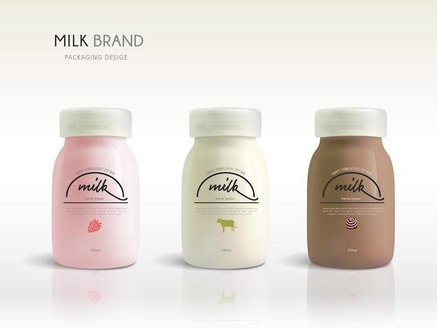 Disegno del modello di bottiglia di latte