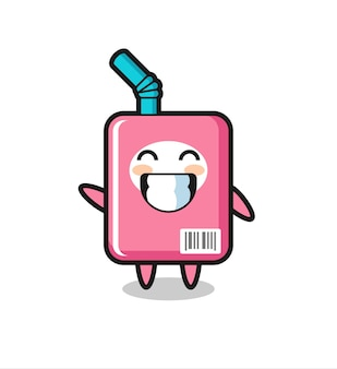 Personaggio dei cartoni animati della scatola del latte che fa il gesto della mano con l'onda, design in stile carino per maglietta, adesivo, elemento logo