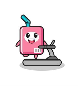 Personaggio dei cartoni animati della scatola del latte che cammina sul tapis roulant, design in stile carino per maglietta, adesivo, elemento logo