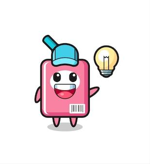 Cartone animato personaggio scatola di latte che ottiene l'idea, design in stile carino per t-shirt, adesivo, elemento logo