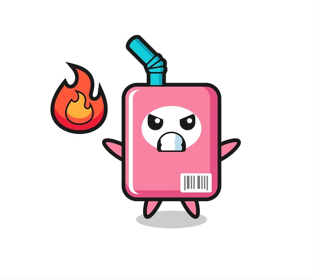 Cartone animato personaggio scatola di latte con gesto arrabbiato, design in stile carino per maglietta, adesivo, elemento logo