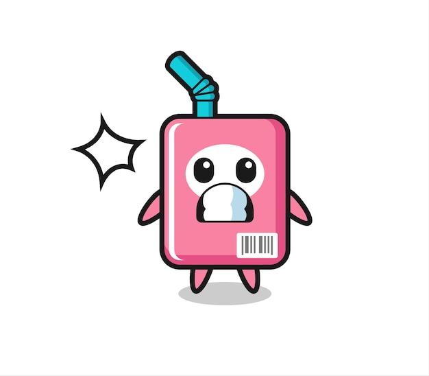 Cartone animato personaggio scatola di latte con gesto scioccato, design in stile carino per maglietta, adesivo, elemento logo