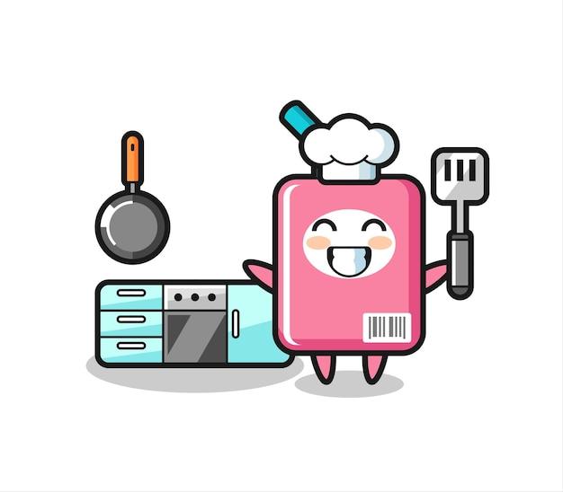 Illustrazione del personaggio della scatola del latte mentre uno chef sta cucinando, design in stile carino per maglietta, adesivo, elemento logo