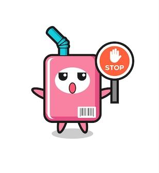 Illustrazione del personaggio della scatola del latte con un segnale di stop, design in stile carino per maglietta, adesivo, elemento logo