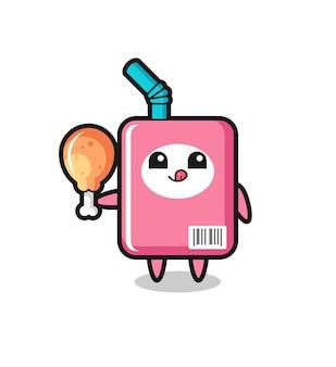 La simpatica mascotte della scatola del latte sta mangiando un pollo fritto, un design in stile carino per maglietta, adesivo, elemento logo