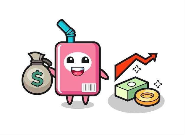 Fumetto dell'illustrazione della scatola del latte che tiene il sacco dei soldi, disegno di stile carino per maglietta, adesivo, elemento logo