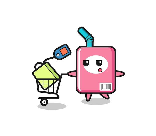 Fumetto dell'illustrazione della scatola del latte con un carrello della spesa, design in stile carino per maglietta, adesivo, elemento logo
