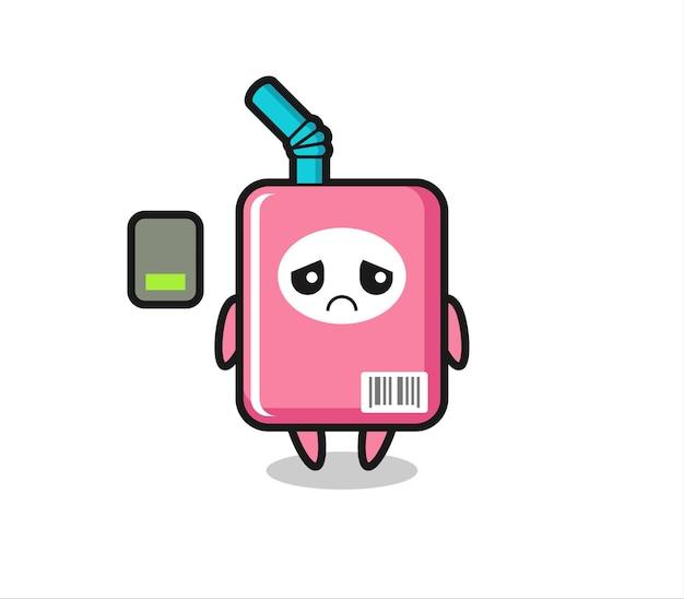Personaggio mascotte della scatola del latte che fa un gesto stanco, design in stile carino per maglietta, adesivo, elemento logo