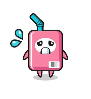 Personaggio mascotte scatola del latte con gesto impaurito, design in stile carino per maglietta, adesivo, elemento logo