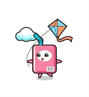 L'illustrazione della mascotte della scatola del latte sta giocando a un aquilone, un design in stile carino per maglietta, adesivo, elemento logo