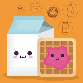 Scatola del latte e pancake con icone relative al cibo della prima colazione