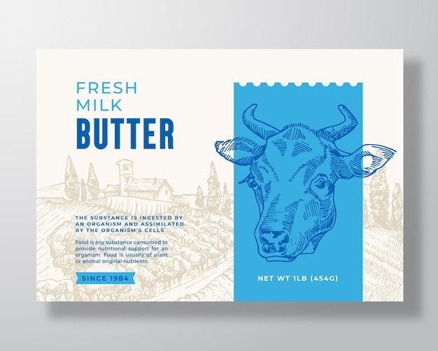 Latte burro latticini modello di etichetta astratto vettore packaging design layout tipografia moderna bann...