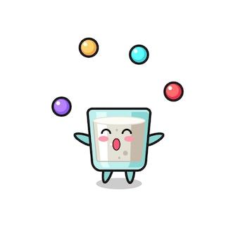Il cartone animato del circo del latte che destreggia una palla, un design in stile carino per maglietta, adesivo, elemento logo