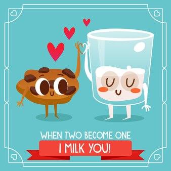 Latte e biscotti sfondo citando amore