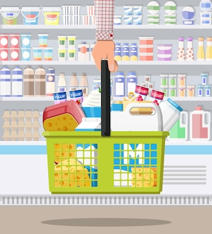 Contatore di latte in supermercato. negozio dell'agricoltore o negozio di alimentari. prodotti lattiero-caseari insieme di cibo. latte formaggio yogurt burro panna acida crema cottage prodotti agricoli. stile piatto di illustrazione vettoriale