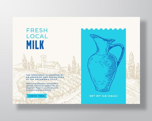 Latte latticini modello di etichetta astratto vettore packaging design layout moderno banner tipografia con...
