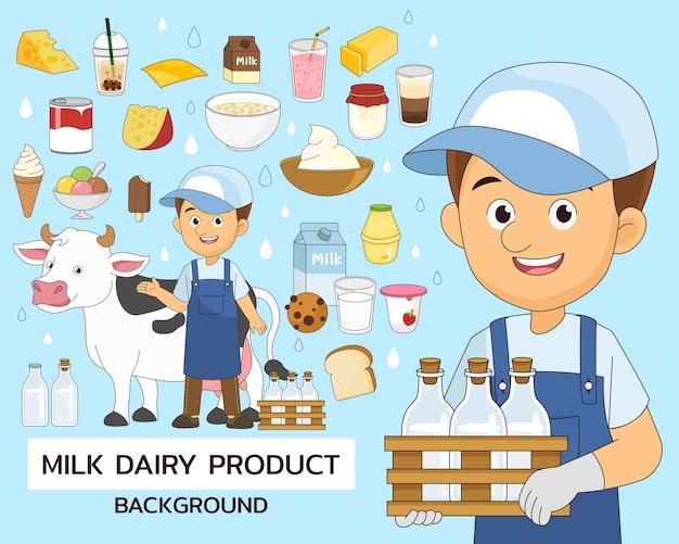 Fondo di concetto del prodotto lattiero-caseario del latte. icone piatte.