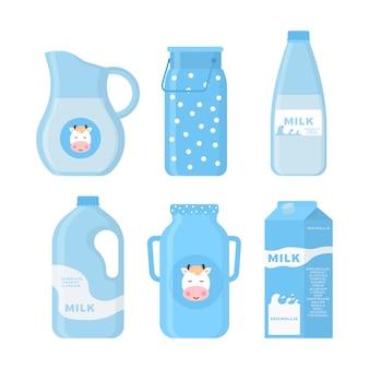 Icone di latte e prodotti lattiero-caseari in uno stile piatto per grafica, web design e logo. raccolta di prodotti lattiero-caseari, tra cui latte, burro, formaggio, yogurt, ricotta, gelato, panna.