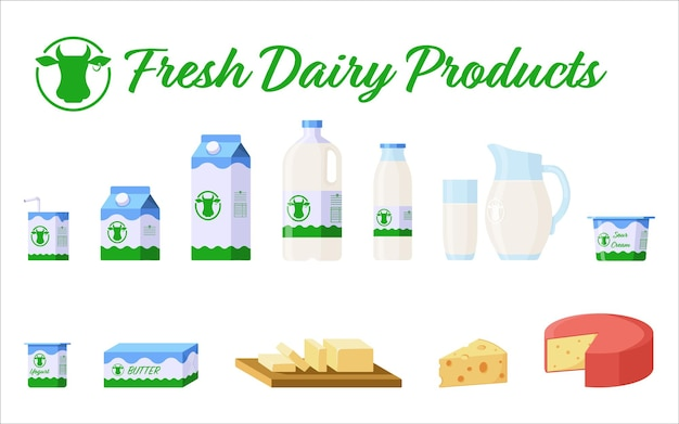 Set di latte e prodotti lattiero-caseari. collezione flat style di prodotti caseari: latte in diverse confezioni (cartone, bicchiere, caraffa), yogurt, formaggio, burro, panna acida. vettore premium
