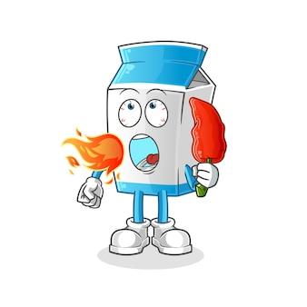 Il latte mangia la mascotte calda del peperoncino rosso. cartone animato
