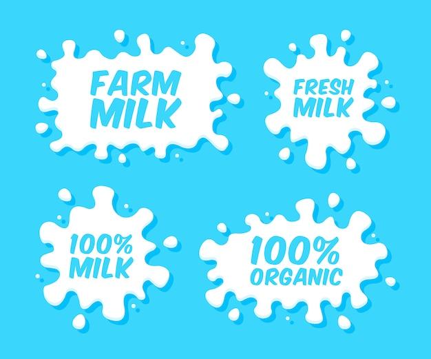 Emblemi di latte ed etichette di prodotti lattiero-caseari con schizzi e macchie. macchie di latte di vettore e gocce di crema