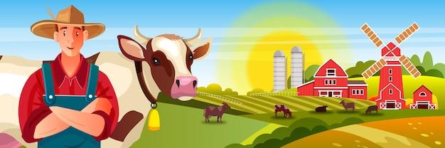 Sfondo di fattoria di latte con mucche, agricoltore maschio, campi verdi, sole, mulino, fienile