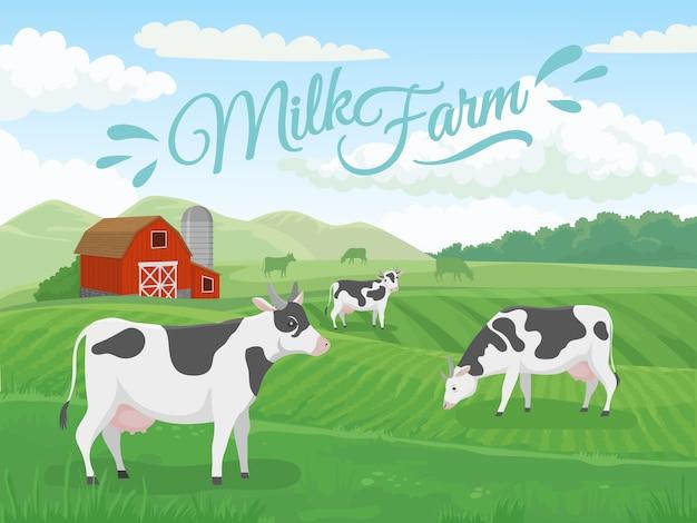 Campo di fattoria del latte. le aziende lattiero-casearie abbelliscono, mucca sui campi del ranch e l'illustrazione delle mucche dell'agricoltura country