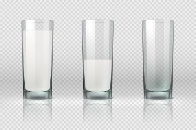 Bicchiere di latte. realistico bicchiere vuoto, mezzo pieno e pieno con latte isolato su sfondo trasparente