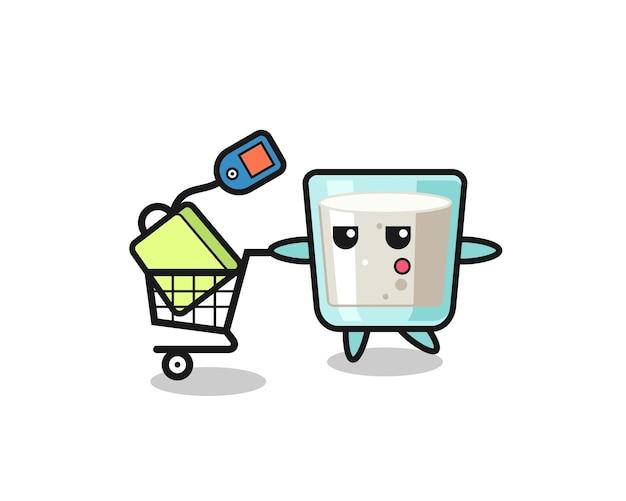 Cartone animato di illustrazione del latte con un carrello della spesa, design in stile carino per t-shirt, adesivo, elemento logo