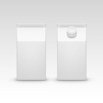 Insieme di vettore isolato spazio in bianco bianco d'imballaggio della scatola del pacchetto del cartone del succo di latte