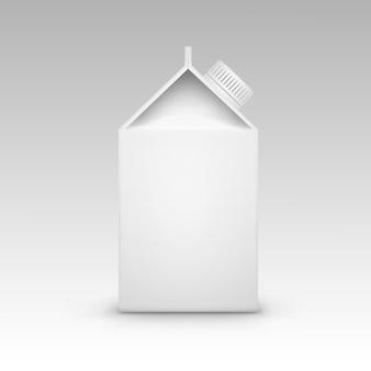 Vettore isolato spazio in bianco bianco d'imballaggio della scatola del pacchetto del cartone del succo di latte