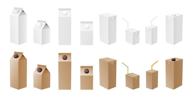 Confezione di latte e succo di frutta bianco e mockup artigianale. pacchetto di cartone realistico isolato, modello per prodotti lattiero-caseari