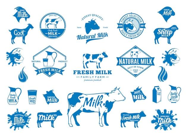 Icone dei distintivi del logo del latte ed elementi di design