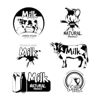 Insieme di vettore di logo ed emblemi di latte. etichetta prodotto, caseificio, mucca e illustrazione di bevande naturali fresche