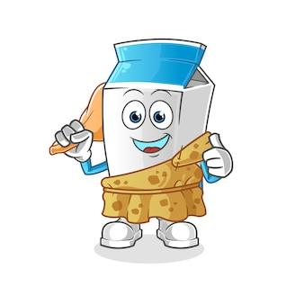 Mascotte antica del fumetto del pacchetto del latte