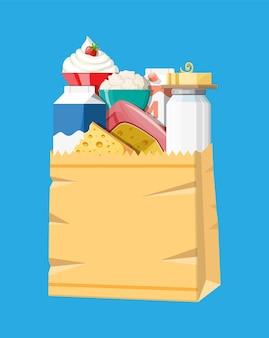 Prodotti lattiero-caseari inseriti in un sacchetto di carta con formaggio, ricotta e burro. latticini. prodotti freschi della tradizione contadina. illustrazione vettoriale in stile piatto